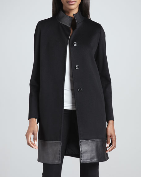 Mock-Neck Leather-Trim Coat