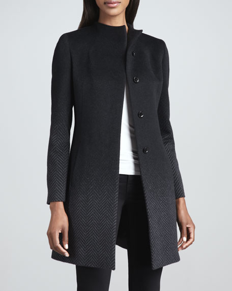 Ombre Herringbone Angora-Wool Coat