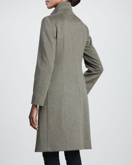 Funnel-Neck Wool Coat, Olive