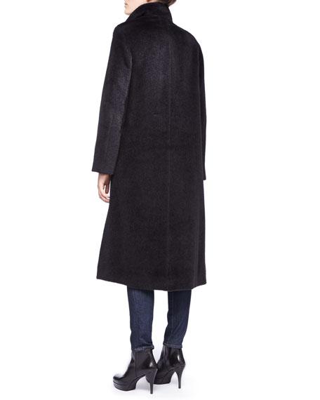 Fuzzy Funnel Neck Long Coat