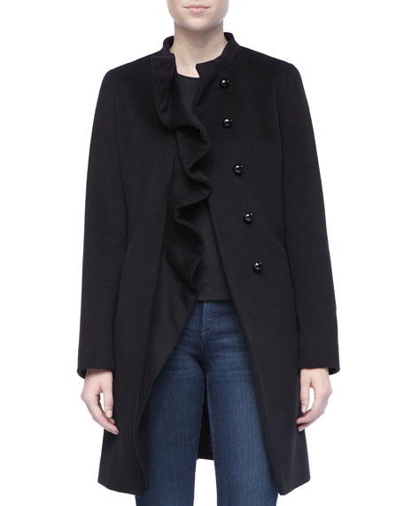 Ruffled Front Wool Coat