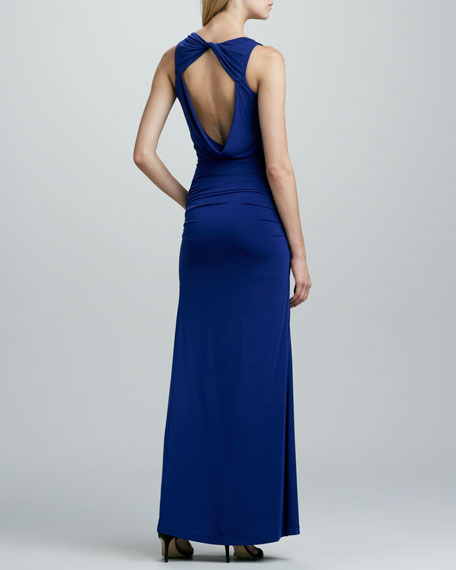 Draped Asymmetric Jersey Gown