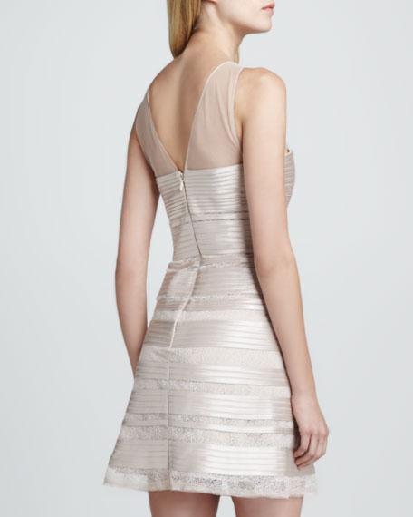 Sheer/Satin Jewel-Neck Dress