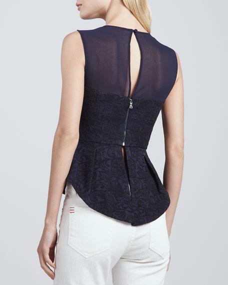 Floral-Lace Peplum Top