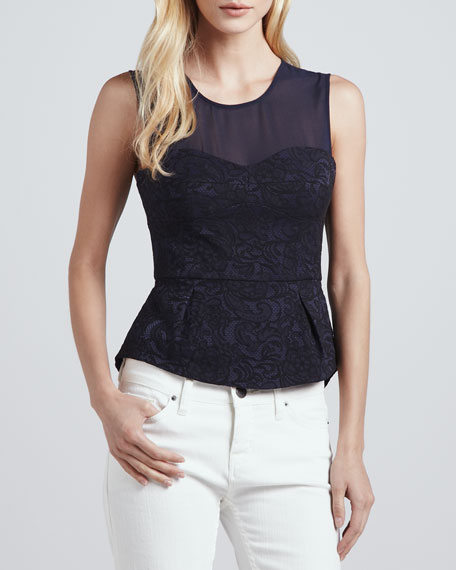 Floral-Lace Peplum Top