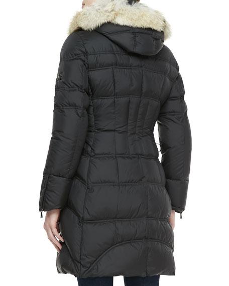 Cloe Fur-Trim Mid-Length Puffer Coat