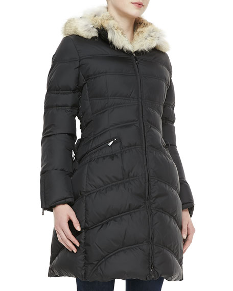 Cloe Fur-Trim Mid-Length Puffer Coat