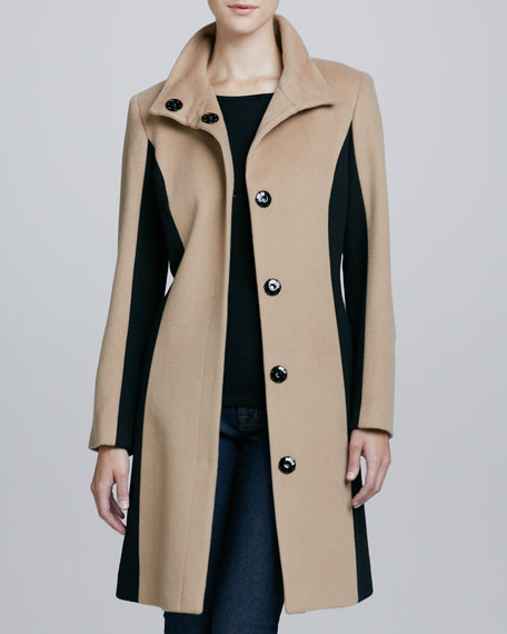 Funnel-Neck Colorblocked Wool & Cashmere Coat