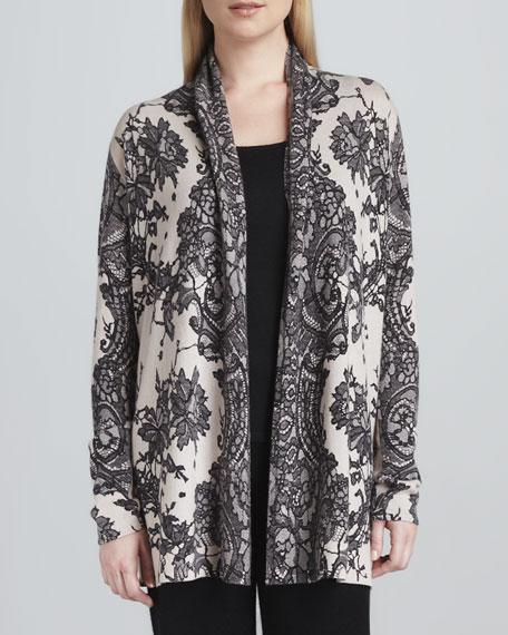 Lace-Print Cashmere Cardigan