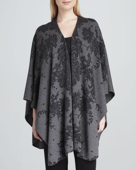 Lace-Print Cashmere Shawl