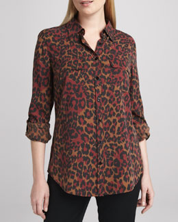 Go Silk Animal-Print Silk Blouse