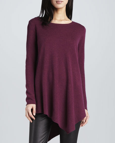 Tambrel Sweater with Asymmetric Hem, Heather Shiraz