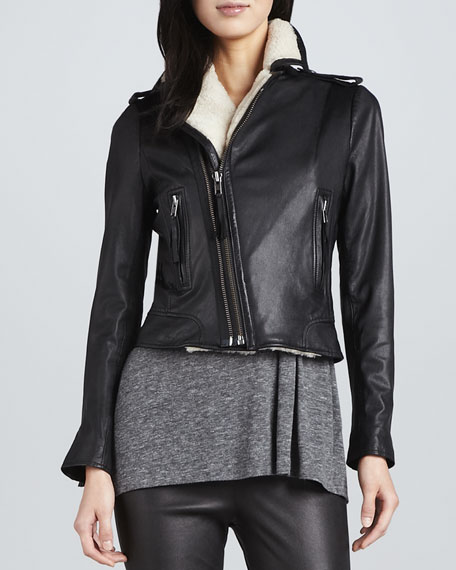 Ailey Leather Jacket with Shearling Lining