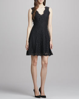 Joie Nikolina Fringe-Trim Lace Dress