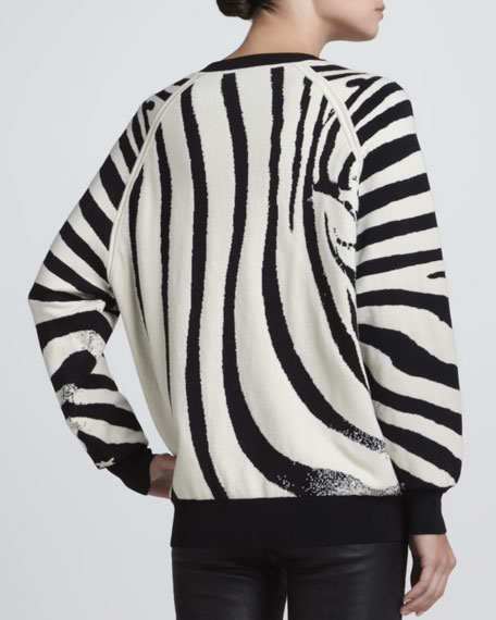 Zebra-Print Knit Sweatshirt