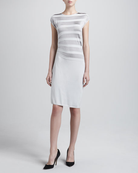 Asymmetric Contrast Striped Dress, Grey Tonal