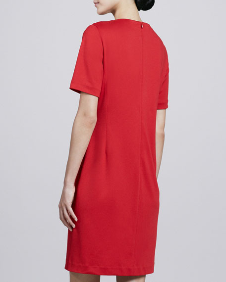 Short-Sleeve Pintucked Ponte Dress