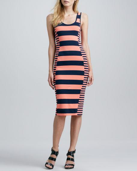 Fun Fitted Mixed-Stripe Midi Dress