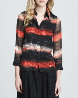Alice + Olivia Willa Burnout-Stripe Blouse