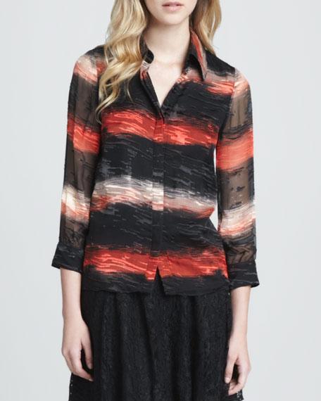 Willa Burnout-Stripe Blouse
