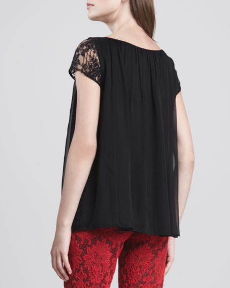 Pimmy Lace-Sleeve Top