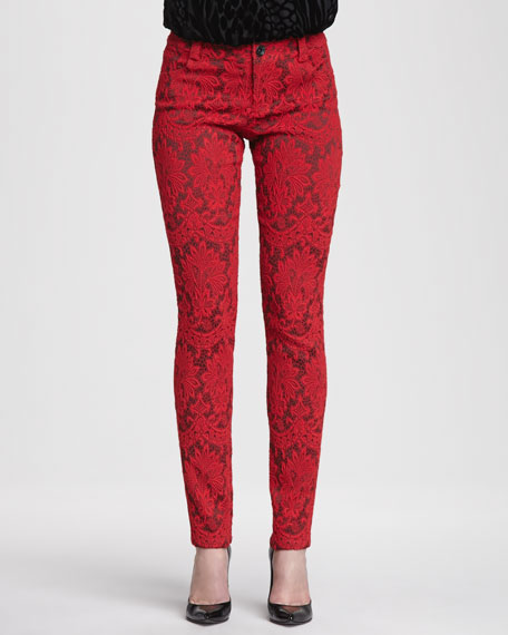 Brocade Skinny Jeans, Red