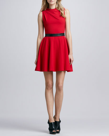 Alma Leather-Waist Dress