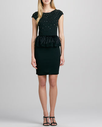 Luma Feather-Peplum Dress