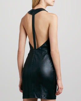 Alice + Olivia Layne Leather T-Back Dress