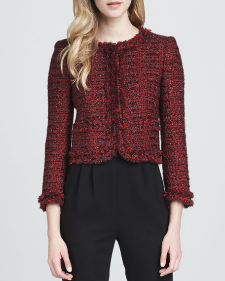 Kidman Metallic Tweed Jacket, Red