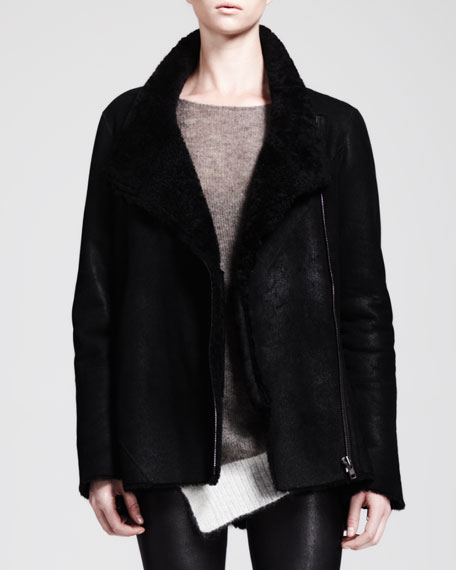 Wrecked Shearling Zip Coat