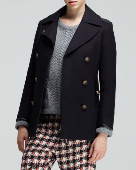 Battle Leather-Trimmed Pea Coat