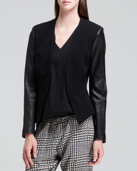 Pascal Leather-Sleeve Blazer