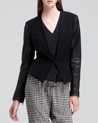 Pascal Leather-Sleeve Blazer