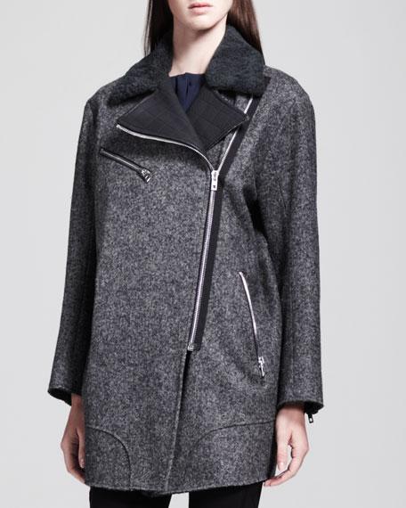 Turner Leather-Trim Coat