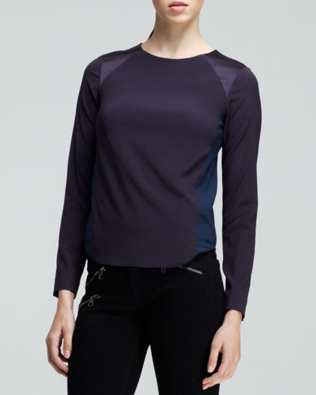 Clemence Colorblock Silk Top