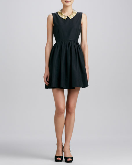 laurence stud-collar dress