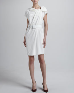 Armani Collezioni Crepe Asymmetric Belted Dress, White