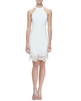 Halston Heritage Racerback Sheer-Hem Crepe Dress