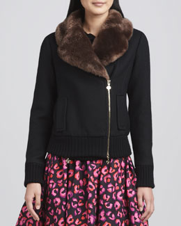 kate spade new york trina fur-collar jacket