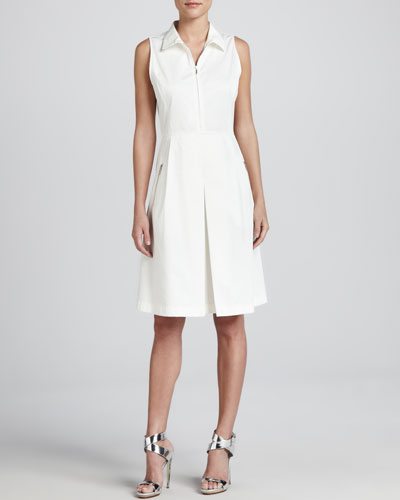 Armani Collezioni Sleeveless Zip-Front Stretch Dress, Off White