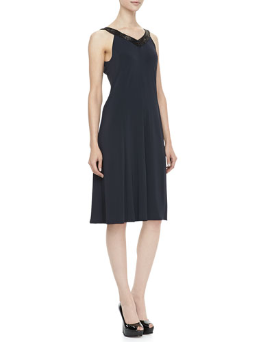 Armani Collezioni Sequined-Trim Jersey Dress