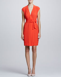 kate spade new york villa bow-tie waist dress, maraschino