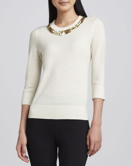 avaline golden-collar sweater, cream