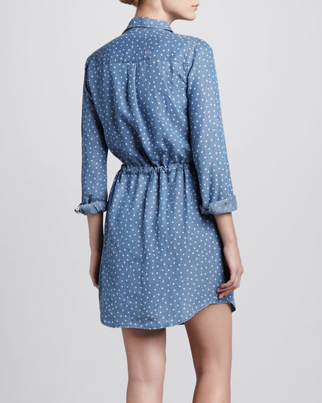 Polka-Dot Chambray Shirtdress