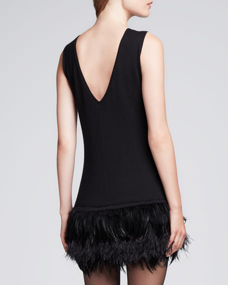 Plume Feather-Hem Crepe Dress