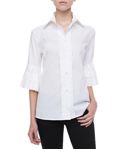 Armani Collezioni Ruffle-Sleeve Poplin Blouse, White