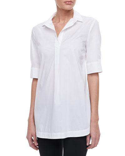 Armani Collezioni Short-Sleeve Poplin Top, White