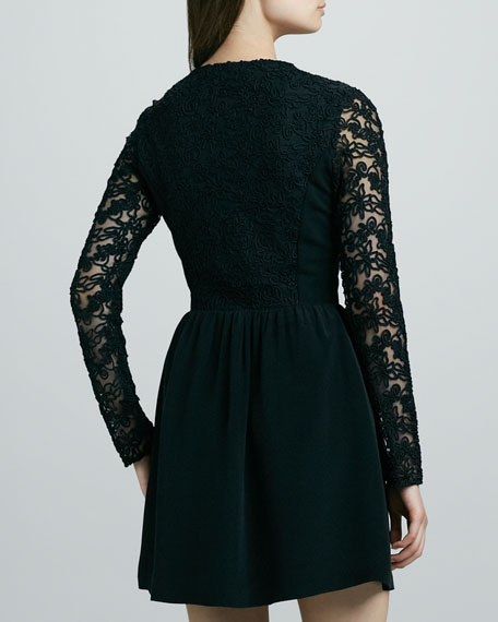Floren Sheer-Sleeve Dress