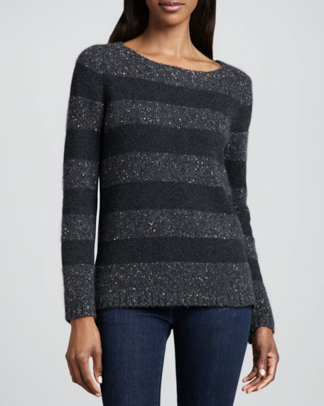 Tonal Striped Donegal Cashmere Sweater